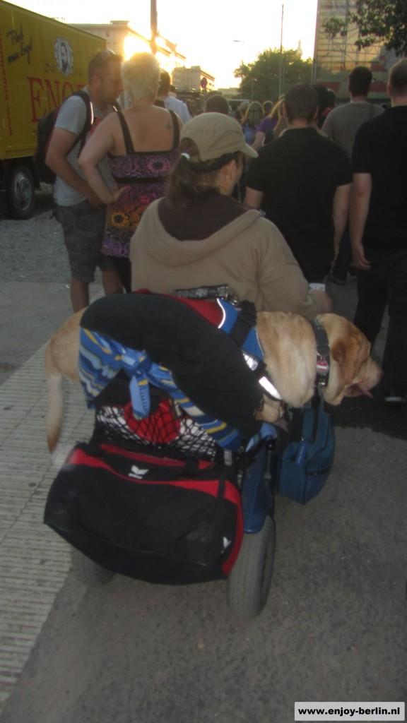 Vrouw met hond in rolstoel