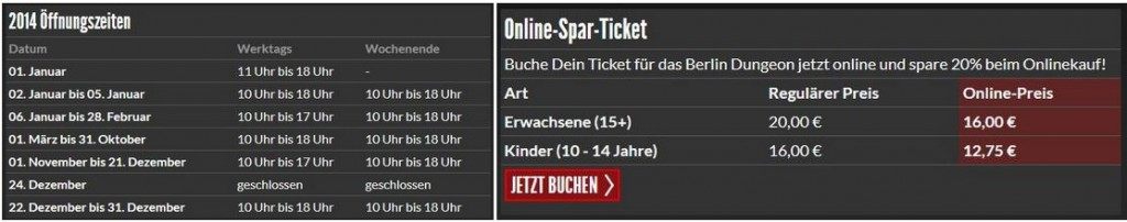 opening-hours and prices of Berlin Dungeon